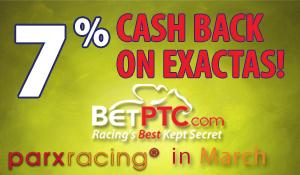 Cash back on Parx racing
